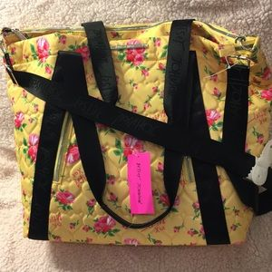 Yellow Pink Black Floral Betsy Johnson Tote